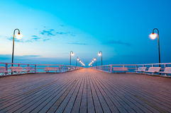 Pier at dawn. In Gdynia, Poland Stock Images