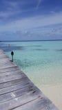 Pier in den Malediven Stockbild