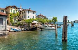Pier des Eingangs auf dem Fischer Insel oder Isola-dei Pescatori, eine der Borromean-Inseln von See Maggiore in Piemont von Nort Stockfotos