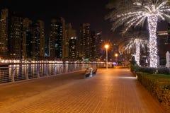 Pier in district Marina of Dubai Royalty Free Stock Image