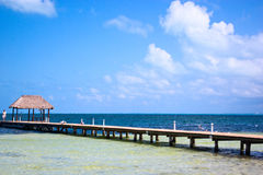 Pier dock in cancun. Caribbean beach Royalty Free Stock Images