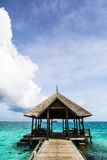 Pier and dock in India Ocean, Maldives Royalty Free Stock Photo