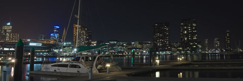Pier in Dockland at night Royalty Free Stock Photos