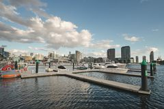 Pier in Docklands. Pier with several different boats moored in Docklands with Melbourne city skyline and clouds on blue sky in background stock images