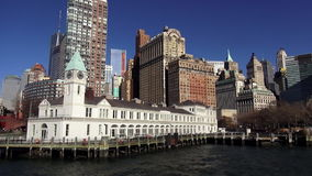 Pier A and Downtown Skyline Manhattan USA cityscapes stock footage