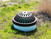 Pier Drainage System Cover. In Norfolk Harbor Stock Photos