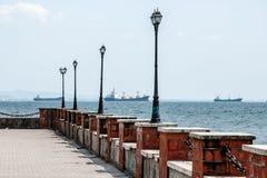 Pier in Durres, Albanien Stockbild