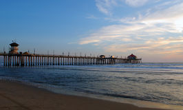 Pier At Dusk. Huntington Beach Pier At Dusk Royalty Free Stock Image