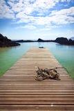 Pier in een lagune bij Los Lobos Royalty-vrije Stock Fotografie
