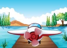 Pier en vliegtuig stock illustratie