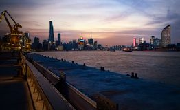 Pier in the evening glow in Shanghai China royalty free stock image