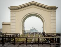 Liberty Framed in Ferry Arch. Pier 35 Ferry Arch framing SS Jeremiah O`Brien stock image