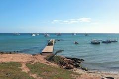 Pier and fishing boats. Macanao, island Margarita, Venezuela Royalty Free Stock Photography