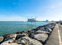 Pier and fishing hut in Marina di Ravenna, Italy Royalty Free Stock Images