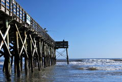 Pier Fishing i South Carolina Arkivfoto