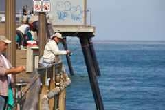 Pier fishing at Imperial Beach California Royalty Free Stock Photo