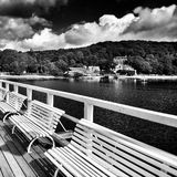 Pier and fishing marina. Artistic look in black and white. Stock Images