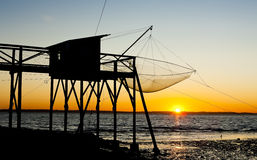 Pier with fishing net Stock Images