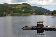 Pier on a fjord Stock Photo