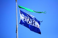 Pier 39. Flag at San Francisco bay area Royalty Free Stock Image