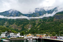 Pier in Flam. In Norway. August 2013 Royalty Free Stock Photos
