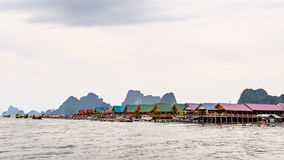 Pier and floating restaurant at Koh Panyee island Royalty Free Stock Photography