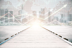 Pier with forex chart. Wooden pier on city background with forex chart and sunlight. Financial growth concept Royalty Free Stock Images
