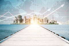 Pier with forex chart. Wooden pier on city background with forex chart and sunlight. Financial growth concept Stock Photo