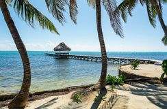 Pier framed by Palm Trees  with Horizon. Framed by palm trees, this view of the pier towardds the horizon is relaxing Royalty Free Stock Photo