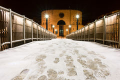 Pier Francavilla al Mare blanketed in snow Royalty Free Stock Image