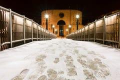 Pier Francavilla al Mare cubrió en nieve imagen de archivo libre de regalías