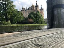 Pier in front of Schwerin castle royalty free stock images