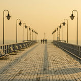 Pier in gdynia orlowo in poland after sunrise in wintertime, europe Stock Photography