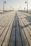Pier in gdynia orlowo in poland after sunrise in wintertime, europe Royalty Free Stock Photos