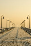 Pier in gdynia orlowo in poland after sunrise in wintertime, europe Stock Images