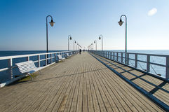 Pier in Gdynia Orlowo, Poland. Wooden pier in Gdynia Orlowo at Batlic sea, Poland Royalty Free Stock Photos
