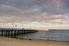 Pier in Gdynia. Sunset over the sea Stock Photos
