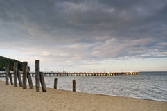 Pier in Gdynia. Sunset over the sea Stock Image