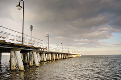 Pier in Gdynia. Sunset over the sea Royalty Free Stock Photo