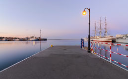 Pier in Gdynia at sunset, Poland Royalty Free Stock Photography