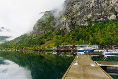Pier in Geiranger fjord Royalty Free Stock Images