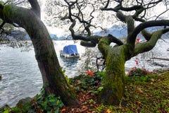 Pier at Geneva Lake in Montreux Vaud canton Switzerlandof. In autumn royalty free stock images