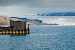 Pier and glacier. A pier in front of the Nordenskiold Glacier. Pyramiden, Longyearbyen, Svalbard, Spitsbergen, Norway Stock Photography
