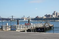 Governors Island Pier. A pier on governors island, a popular tourist destination in New York City Stock Photos