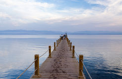 Pier by the Gulf of Aqaba in the evening gentle tones Stock Photos