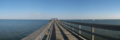 Pier on gulf of Mexico. Panoramic view of pier on gulf of mexico royalty free stock images