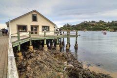 The pier on Halfmoon Bay, Stewart Island, New Zealand royalty free stock image
