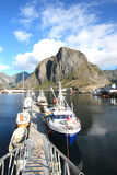 Pier of Hamnoy's  harbour Stock Photos