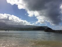 Pier in Hanalei Bay on Kauai Island, Hawaii. royalty free stock images