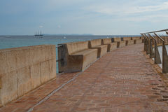 Pier with handrails. In Mallorca Stock Photo